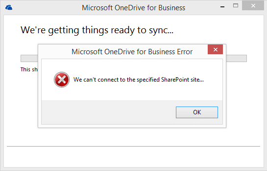 We can't connect to the specified SharePoint site