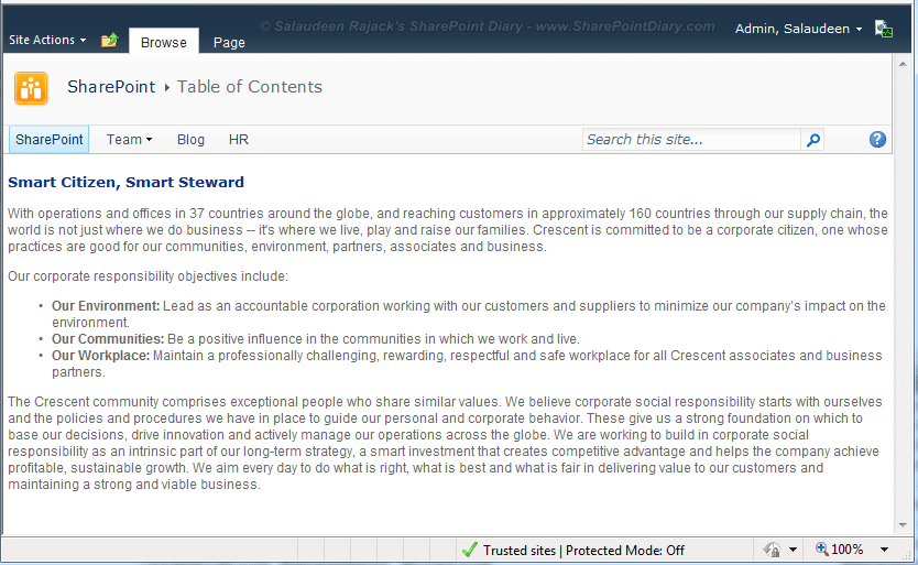 quick launch in sharepoint 2010 web part pages