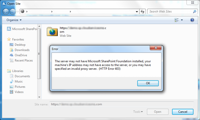 the server may not have microsoft sharepoint foundation installed your machine