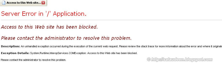 Access to this Web site has been blocked. Please contact the administrator to resolve this problem