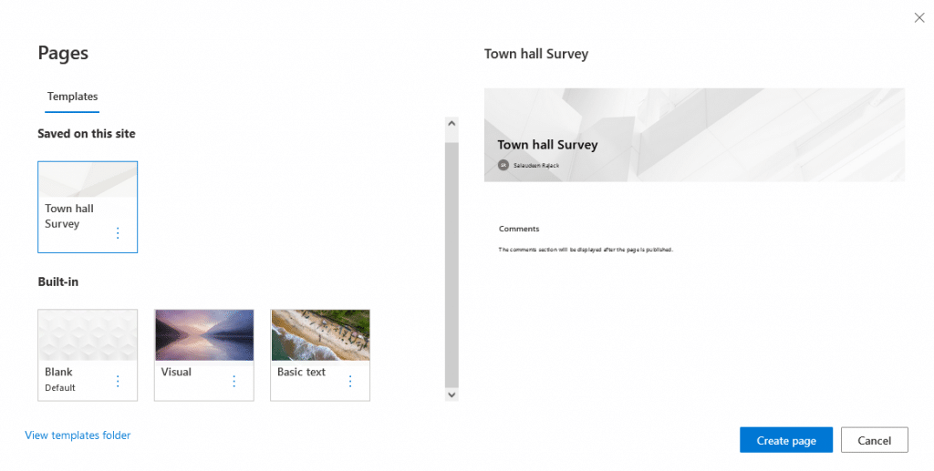 how to create sharepoint online page template