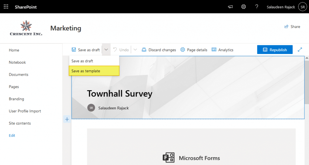 how to save a page as a template in sharepoint online