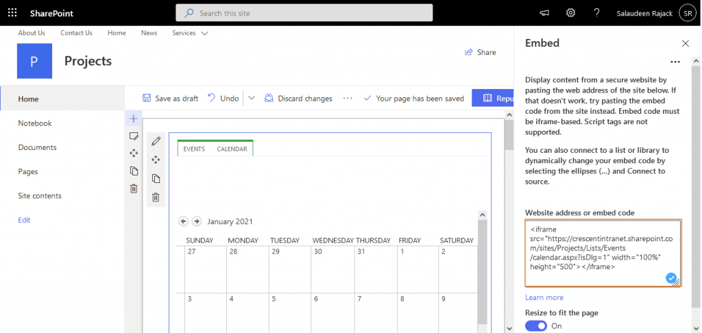 sharepoint online display calendar on home page