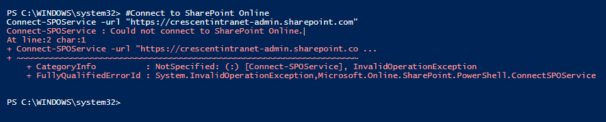 Connect-SPOService : Could not connect to SharePoint Online