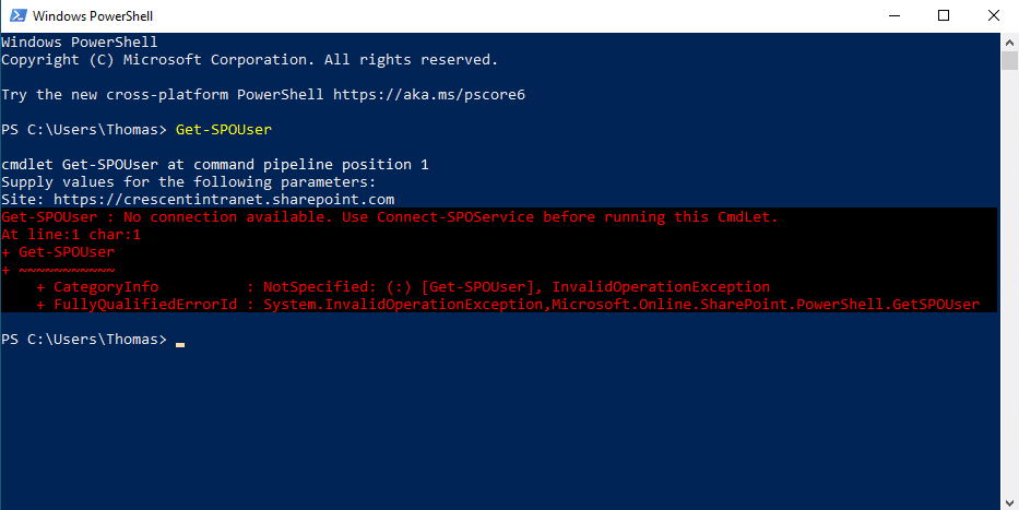 No connection available. Use Connect-SPOService before running this CmdLet.