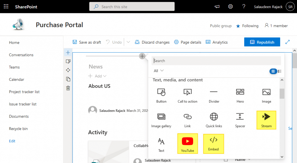 add video to sharepoint online modern page
