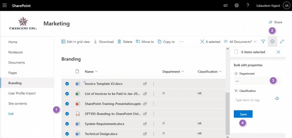 bulk edit metadata sharepoint online