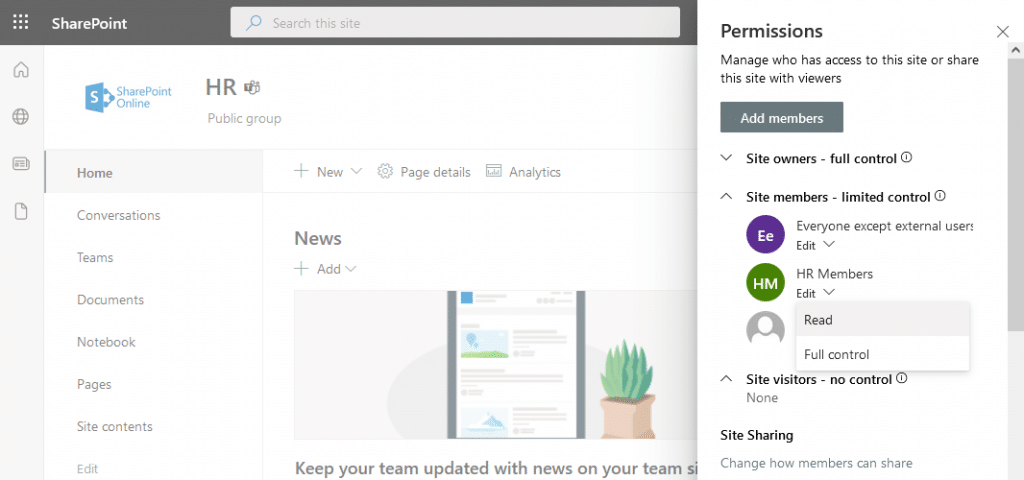change user permissions in group connected sharepoint online sites