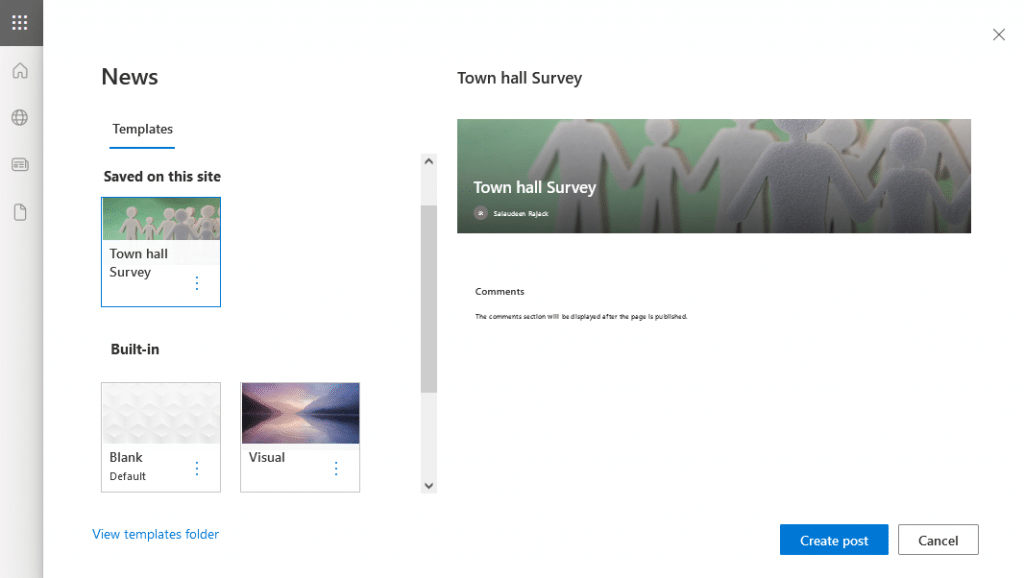 create page from template sharepoint online
