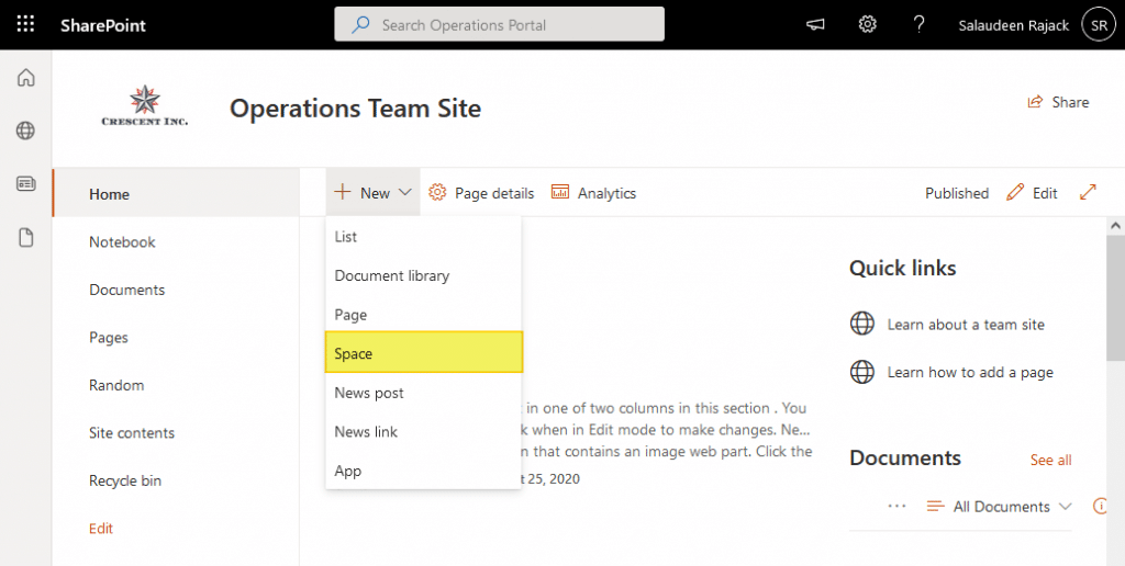 create sharepoint spaces