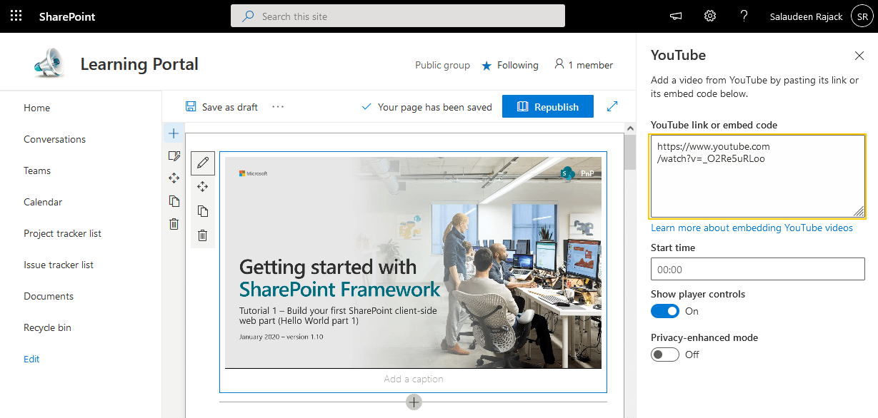embed youtube video in sharepoint online