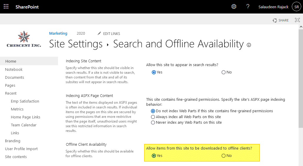 enable sync in sharepoint online site