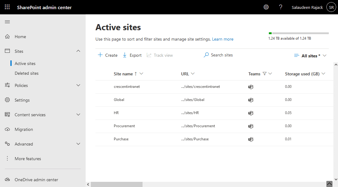 get a list of teams connected sharepoint sites