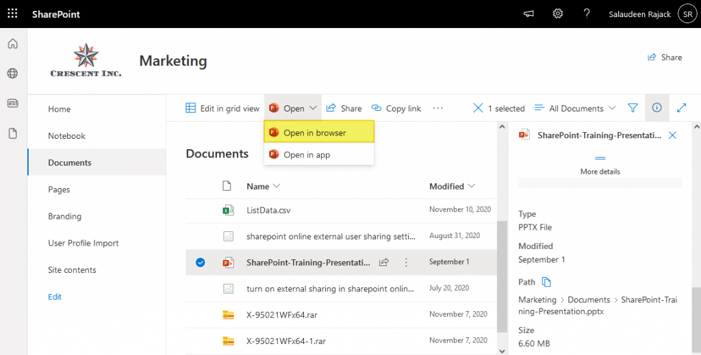 open in browser in sharepoint online