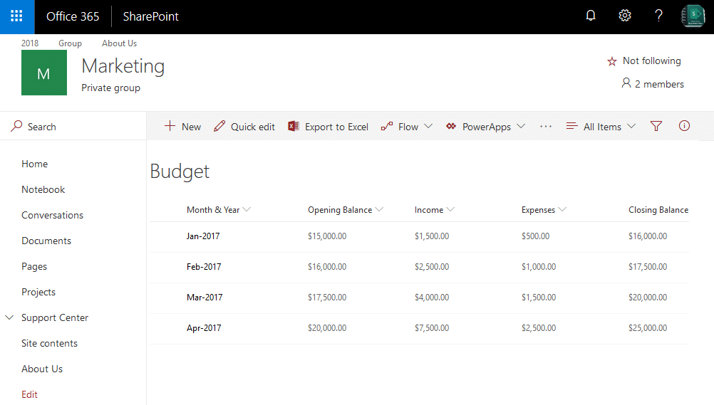 quick chart web part in sharepoint online