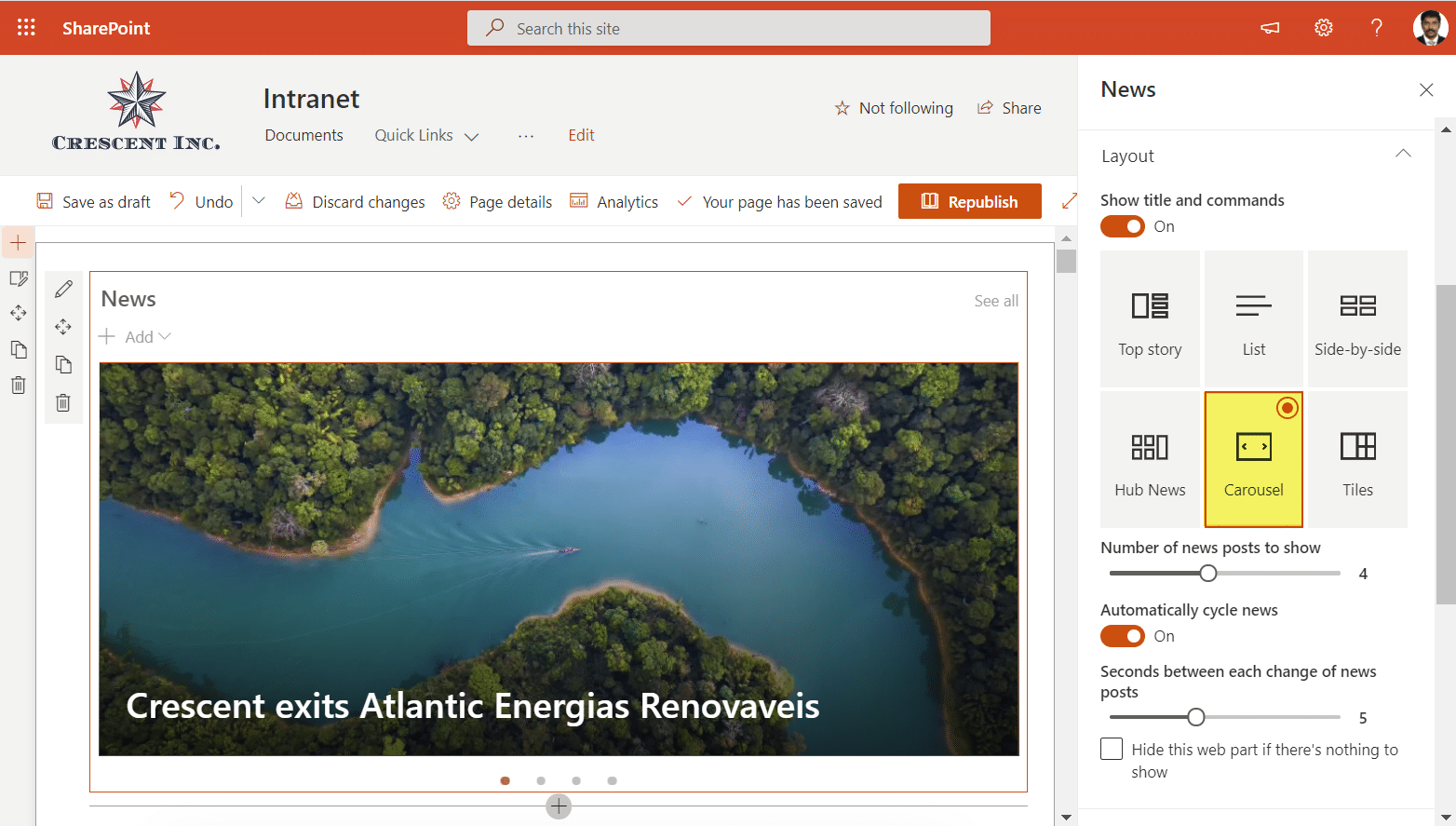 rotating banner in sharepoint online