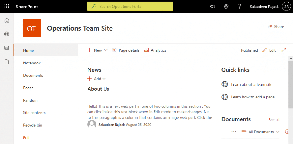 set search this site text in sharepoint online