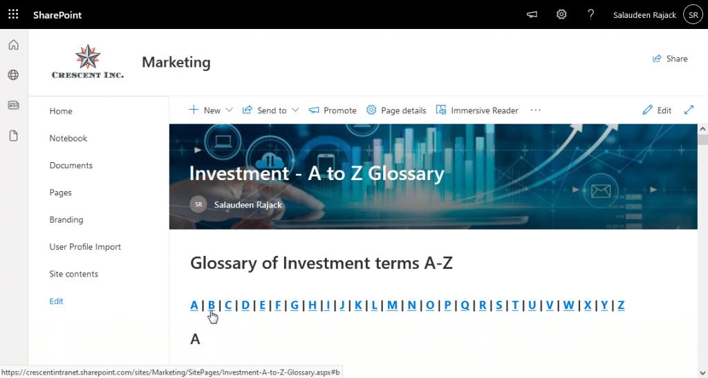 sharepoint online a-z index