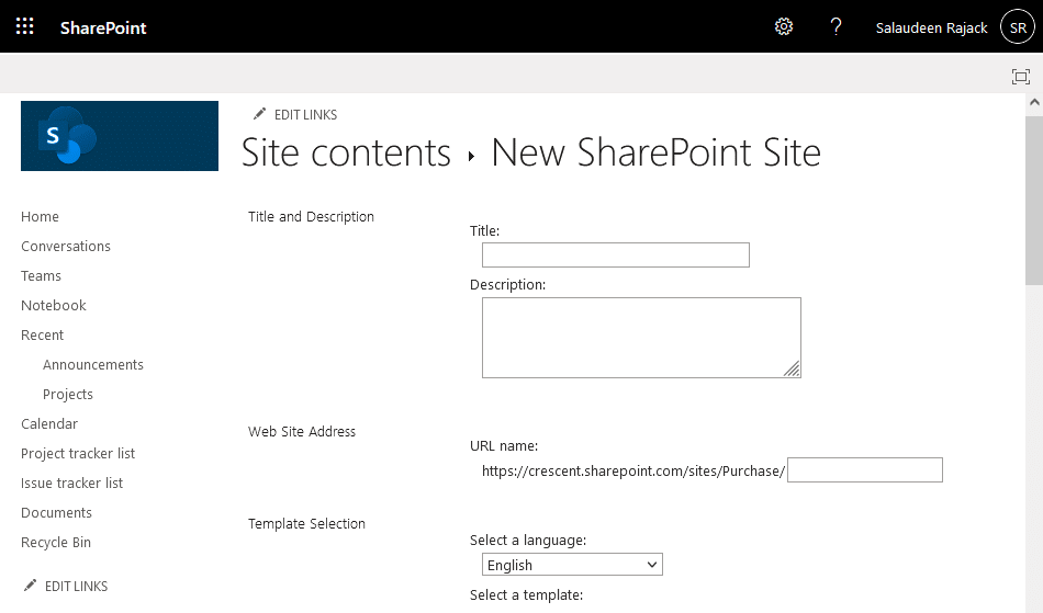 sharepoint online can't create subsite