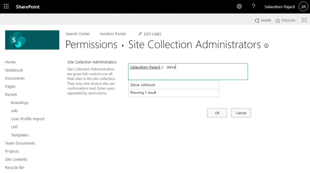 sharepoint online change site collection administrator