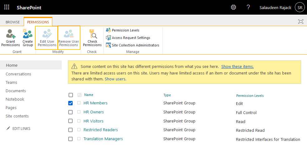 sharepoint online edit user permissions greyed out