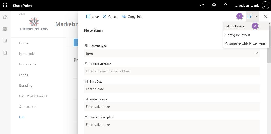 sharepoint online hide column based on another column edit columns