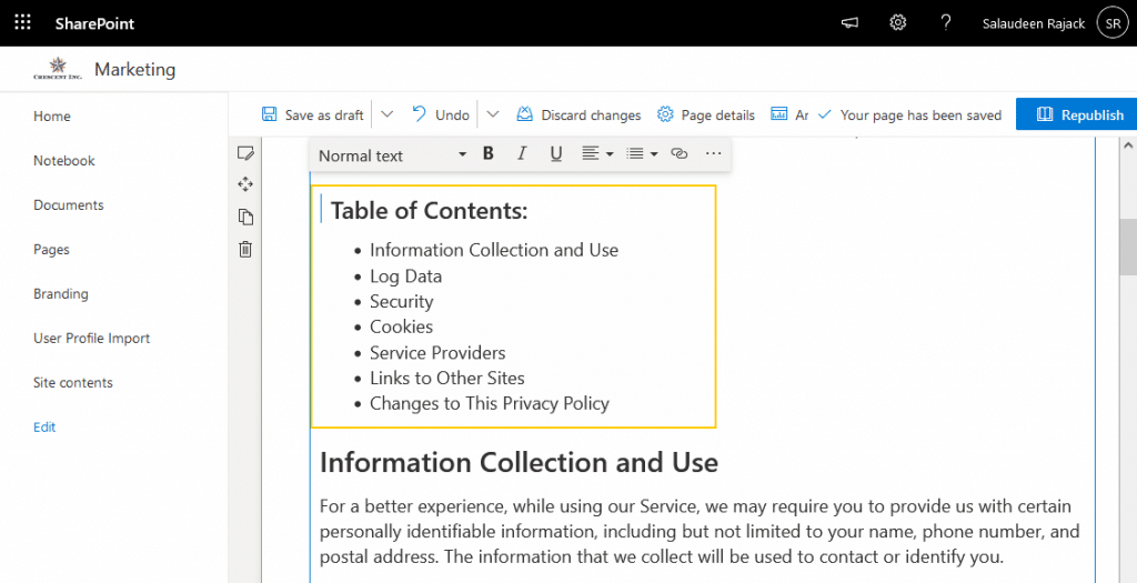 sharepoint online page anchor link