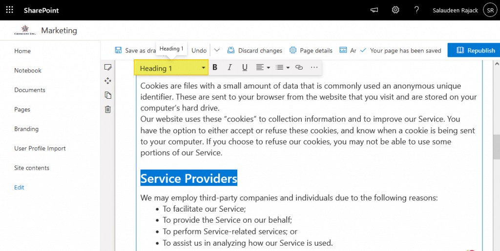 sharepoint online page bookmark
