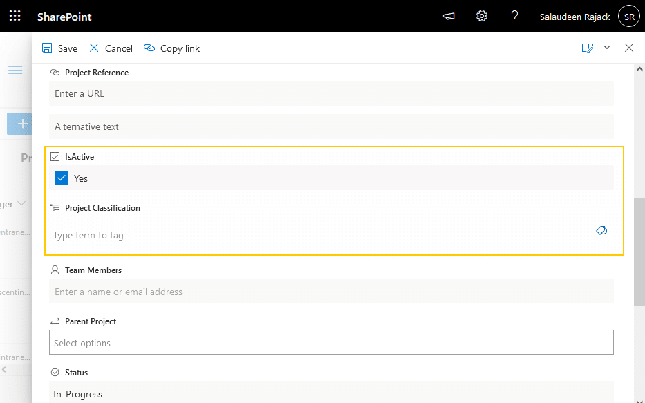 show or hide form field based on another field value in sharepoint online