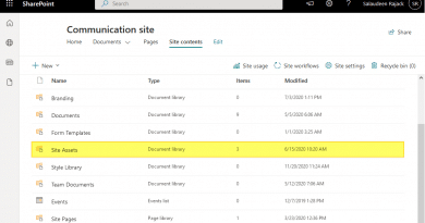 site assets missing sharepoint online