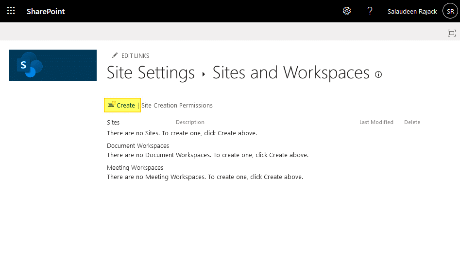 unable to create subsite in sharepoint online