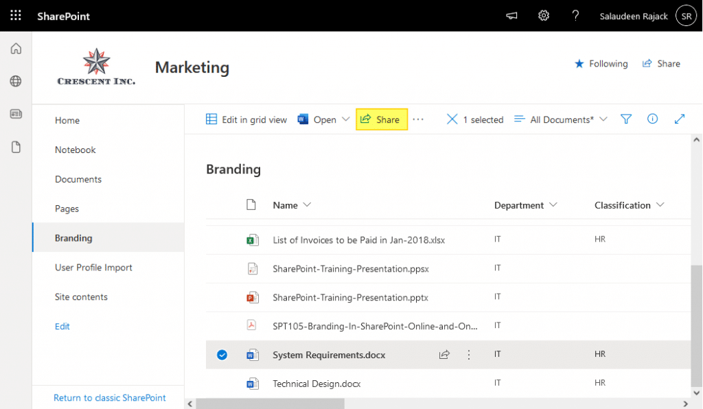 sharepoint online sharing link report